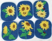 CSS531 - ITH Hot Pads with Applique  Sunflowers